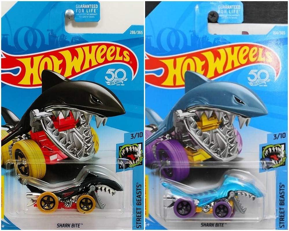 Hot Wheels Shark Bite 50th Street Beasts 3/10 Black 286/365 and Blue 164/365 Bundle