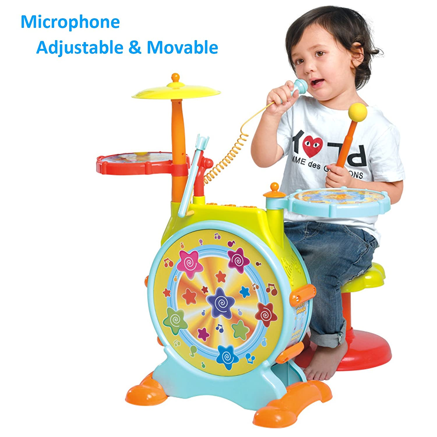 Amazon Huile Electric Toy Jazz Drum Set for Kids Musical