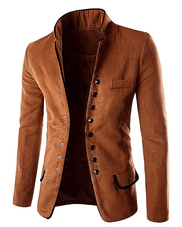 Minetom Homme R/étro Veste /à Manches Longues Slim Fit Simple Boutonnage Blazer Veste De Costume Manteau Blouson Outerwear