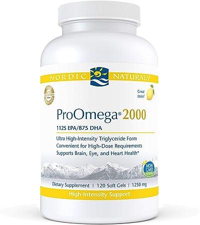 Nordic Naturals ProOmega 2000, Lemon Flavor - 2150 mg Omega-3-120 Soft Gels - Ultra High-Potency Fish Oil - EPA & DHA - Promotes Brain, Eye, Heart, Immune Health - Non-GMO - 60 Servings