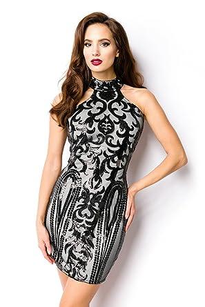 Minikleid Kleid Abendkleid Pailletten Paillettenkleid Schwarz Rose ...