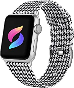 Haveda Fabric Band Compatible for Apple Watch Series 6 5/4 40mm, Soft Woven Canvas band for Apple Watch SE, iwatch bands 38mm womens, Cloth dressy for Apple Watch 38mm Series 3 2 1 Men (Houndstooth)