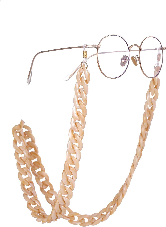 fishhook Eyewear Chain Retro Acrylic Eyeglasses Sunglasses Reading Glasses Strap Keeper Lanyard Holder Necklace for Women Men Grandma