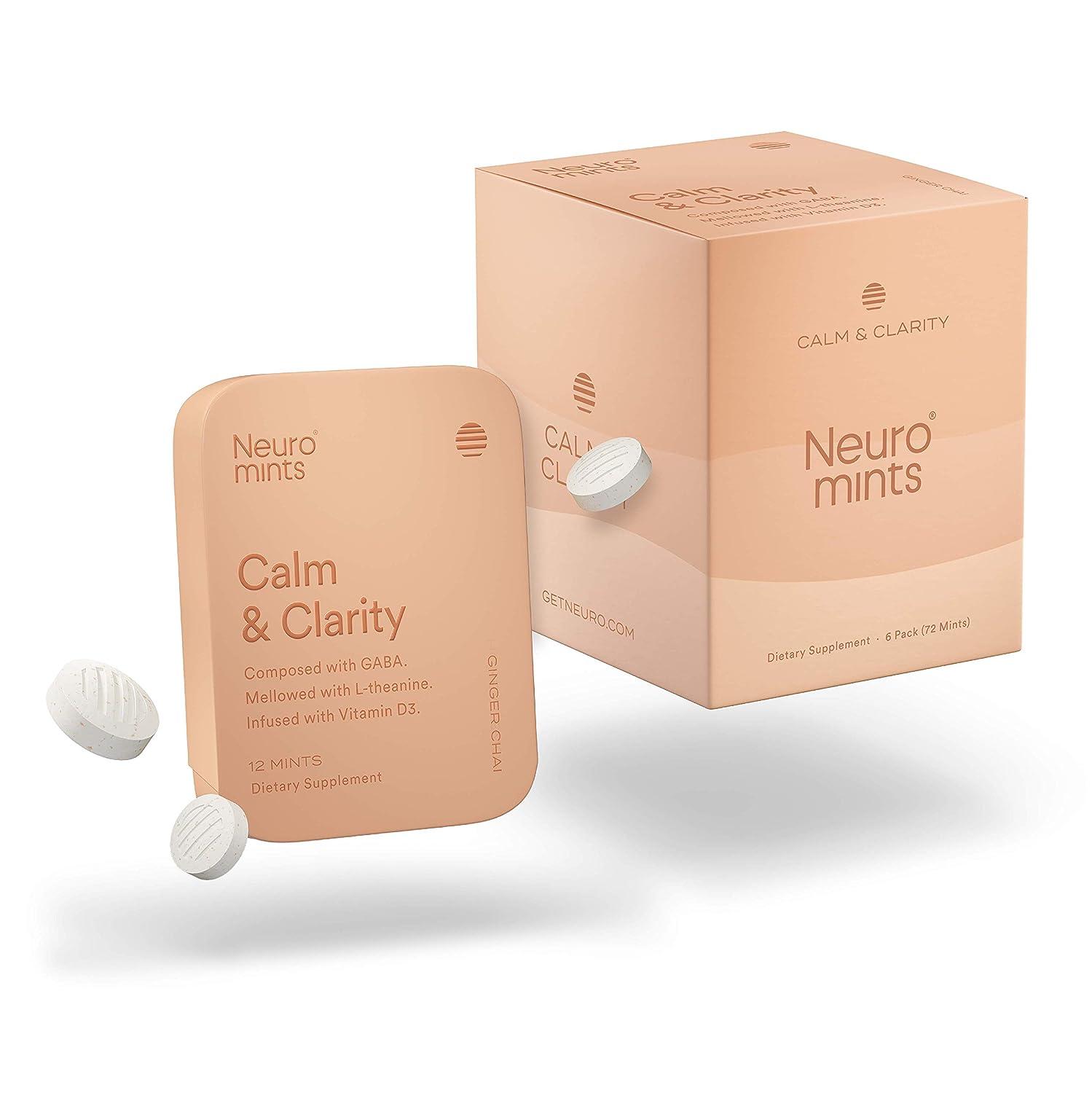 Neuro Mints NootropicCalm Mints |GABA + Vitamin D3 + L-theanine | Sugar free + Gluten free + Non GMO + Vegan | Ginger Chai Flavor (12 Pieces, Pack of 6)