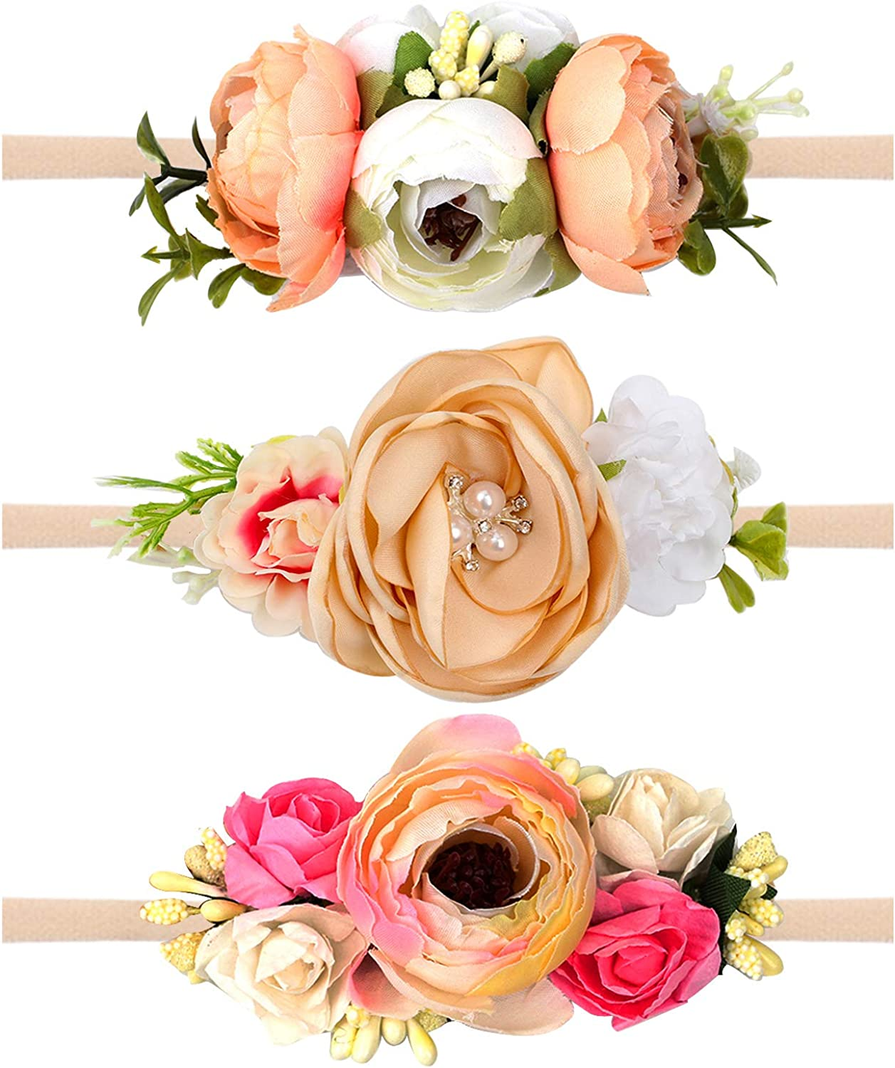 10PCS Baby Girl Bow Floral Flower Elastic Headband Hair Band Accessories Gifts