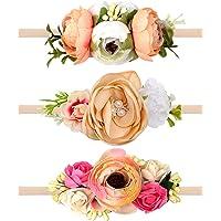 Oaoleer Baby Girl Floral Headbands Set - 3pcs Flower Headbands Newborn Toddler Hair Accessories