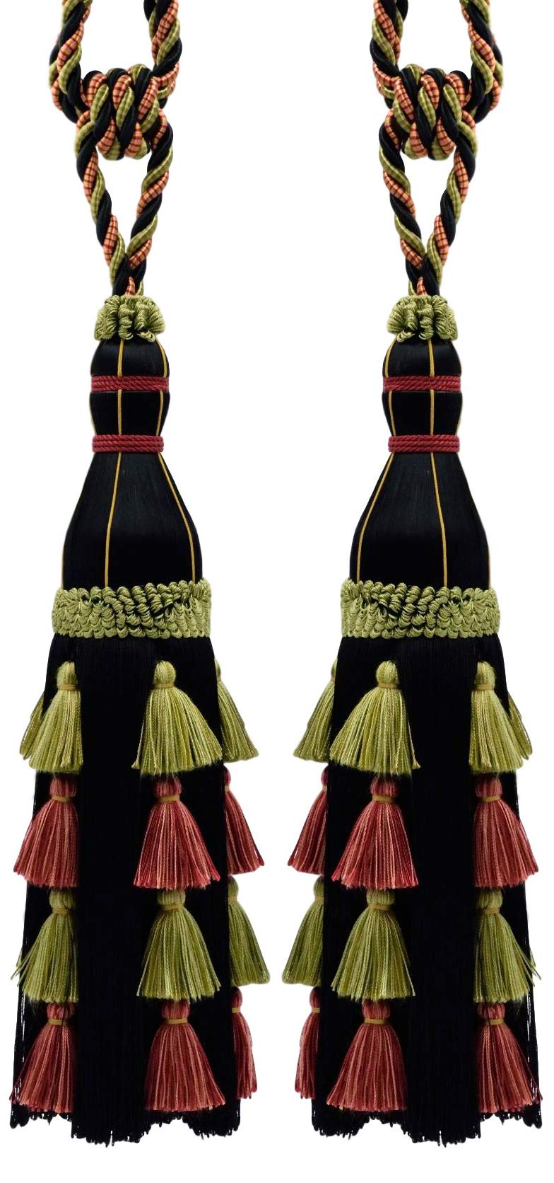 Pair of Large Elegant Sage Green, Black, Red Curtain & Drapery Tassel Tieback / 13 Inch Tassel, 35 Inch Spread (Embrace), Style# TBAR13 Color: Black Cherry - AR06 by DecoPro