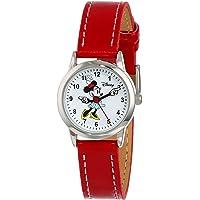 Disney MN1023 Minnie Mouse - Reloj con esfera blanca y correa roja para mujer