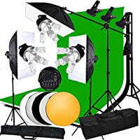 Abeststudio Studio Photo 3375W Continuous Lighting Softbox Backdrops Kit with 3 X (5-Head Light Holder -5pcs On/Off buttons for 5 bulbs) +1.6x3M Backdrops (Black/White/Green) Kit + 3x Softbox + Carry Bag