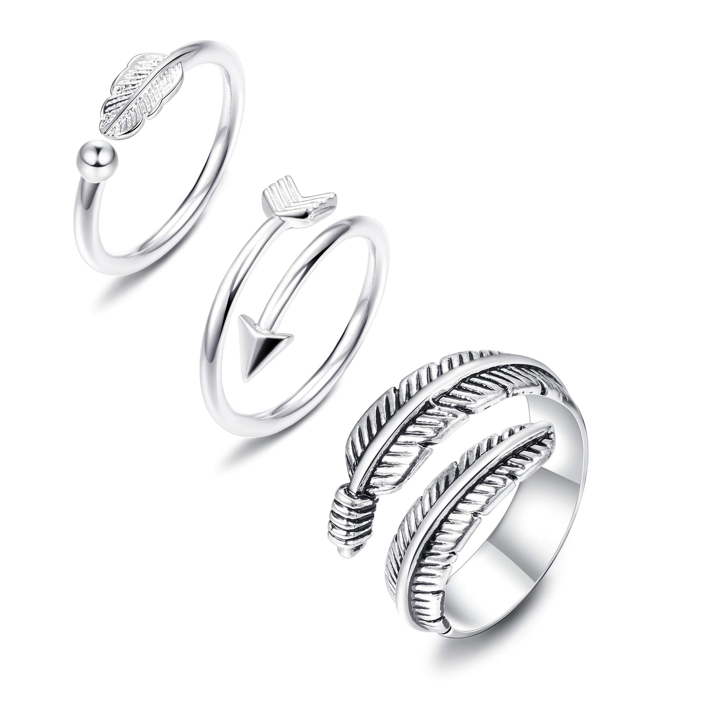 JOERICA 3 Pcs Silver Adjustable Open Rings Women Girls Feather Thumb Stackable Knuckle Ring Sideways Arrow Horizontal Ring by JOERICA