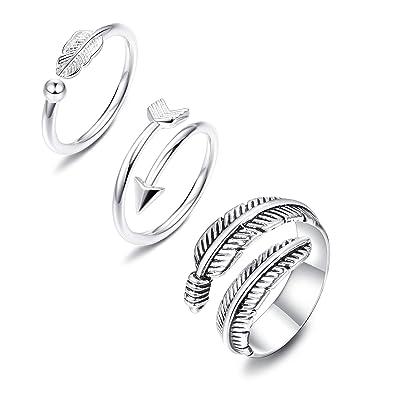 Amazon.com: Joerica 3 anillos abiertos ajustables de plata ...