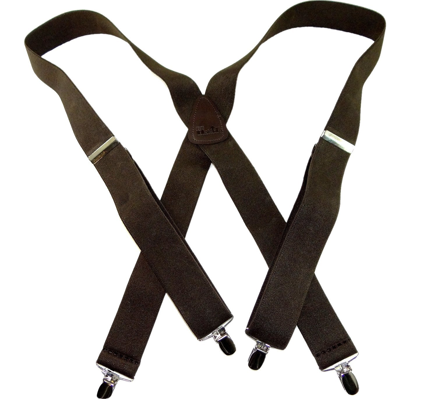 Hold-Ups 1 1/2'' Wide Classic Brown Suspenders in X-back with Silver No-slip Clips