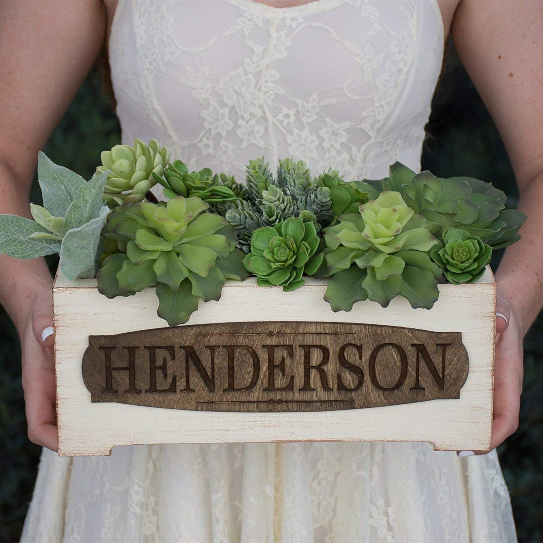 Personalized Vintage Style Wood Planter Box Family Name