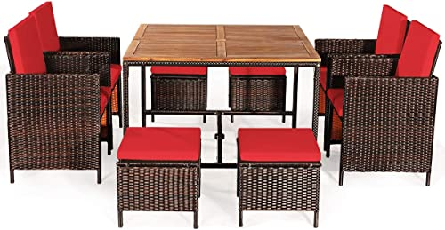 HAPPYGRILL 9PCS Patio Dining Set Outdoor Dining Furniture Set