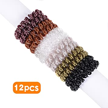 Amazon.com   Spiral Hair Ties 12pcs No Crease Elastic Ponytail Holders Hair  Ring Phone Cord Traceless Hair Rubber Bands Suitable for All Hair Types 6  Colors ... a302d964110