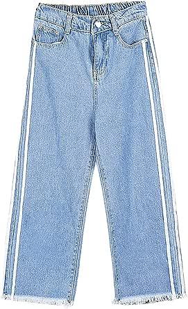 بنطلون جينز نسائي مخطط ذو ساق واسعة بأزرار من الدنيم