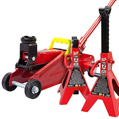 Torin Big Red Hydraulic Trolley Floor Jack Combo with 2 Jack Stands, 2 Ton Capacity: Automotive