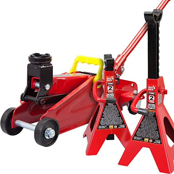 Torin Big Red Hydraulic Trolley Floor Jack Combo with 2 Jack Stands