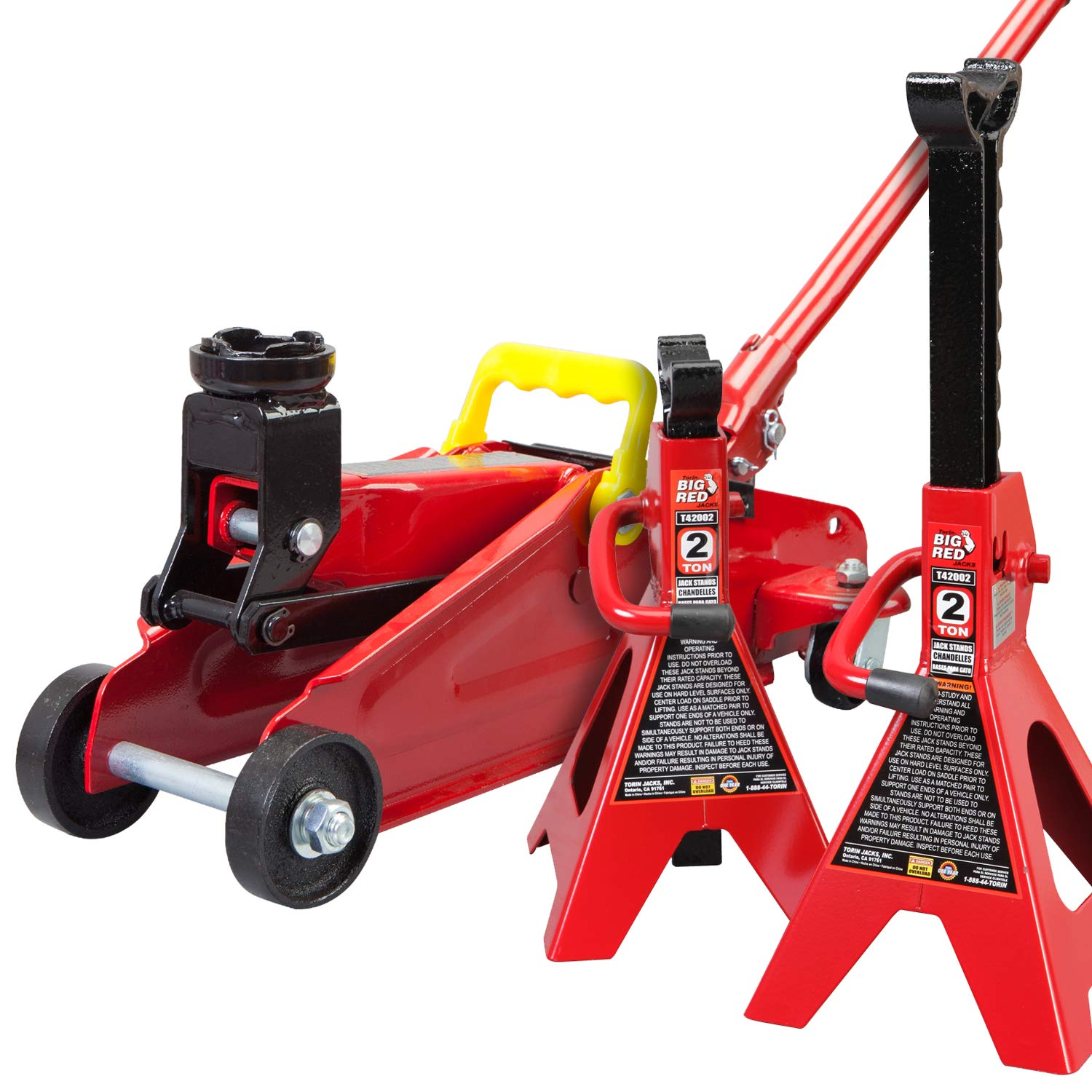 Torin Big Red Hydraulic Trolley Floor Jack Combo with 2 Jack Stands, 2 Ton Capacity by Torin