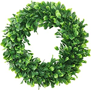 "ElaDeco Faux Boxwood Wreath 16"" Artificial Green Leaves Wreath for Front Door Hanging Wall Window Wedding Party Decoration"