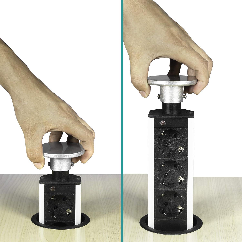 Elbe Socket para Mesa Empotrado, Multi-Socket con 3 enchufes alemanes, Enchufe alemán, Tapa cromada, Cable de 1,5 m, Apto para Oficina, Trabajo y Cocina: Amazon.es: Bricolaje y herramientas