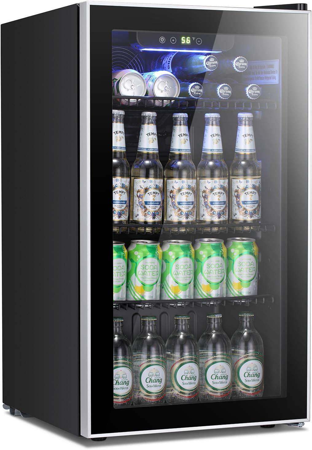 Antarctic Star Beverage Refrigerator Cooler -120 Can Mini Fridge Glass Door for Soda Beer or Wine Constant Glass Door Small Drink Dispenser Clear Front Door for Home, Office Bar 3.2cu.ft