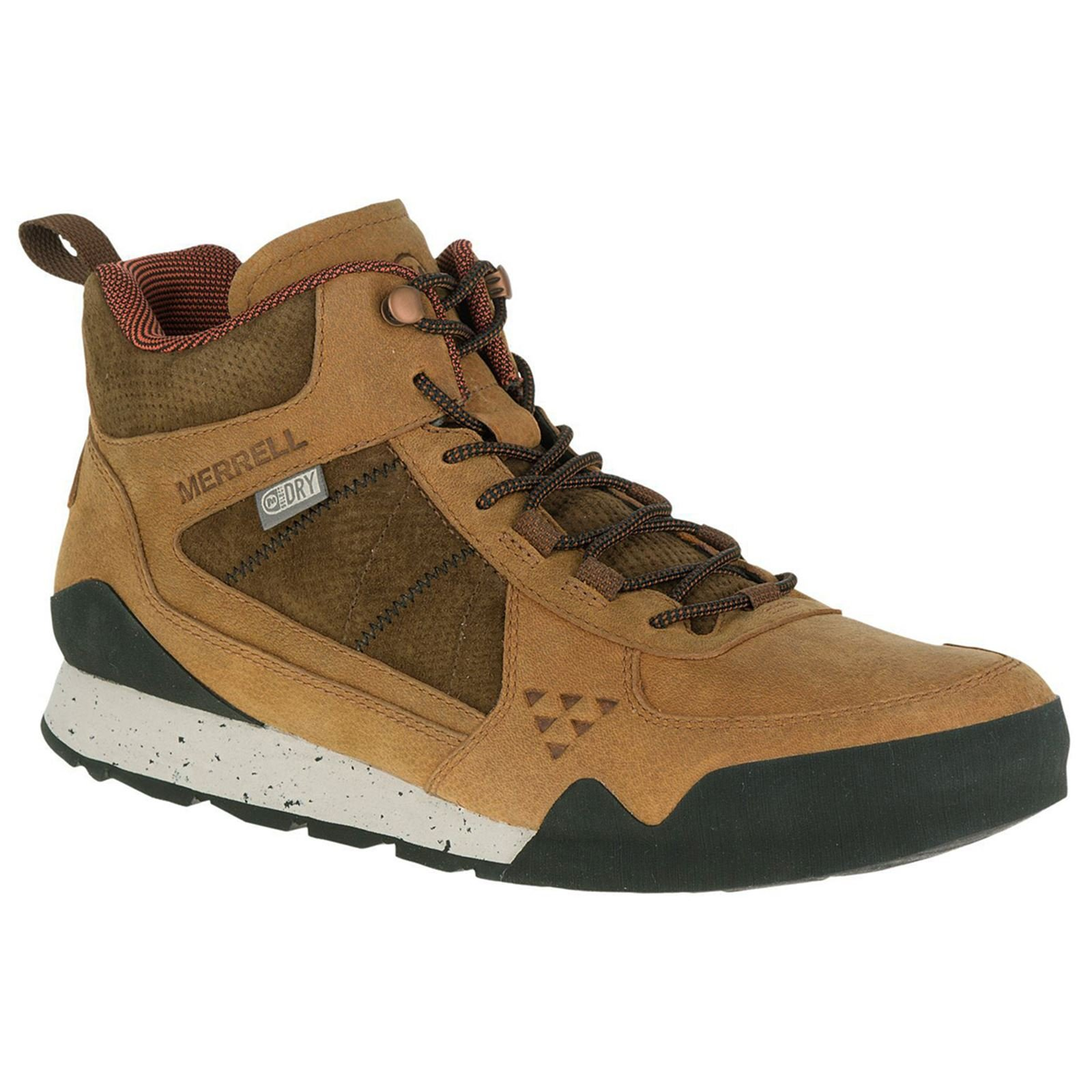 Merrell Men's Burnt Rock Mid Waterproof Fashion Sneaker, Oak, 9.5 M US
