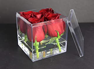 """product image for Acrylic Flower Box with Insert - 4"""" Square X 4"""" Tall - 4 Boxes Per Pack"""