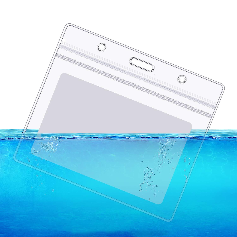 5 St/ücke B/üro Hals ID Karte Lanyard Ausweish/ülle und 5 St/ücke Horizontale Versiegelbare Wasserdichte Klare ID Kartenhalter
