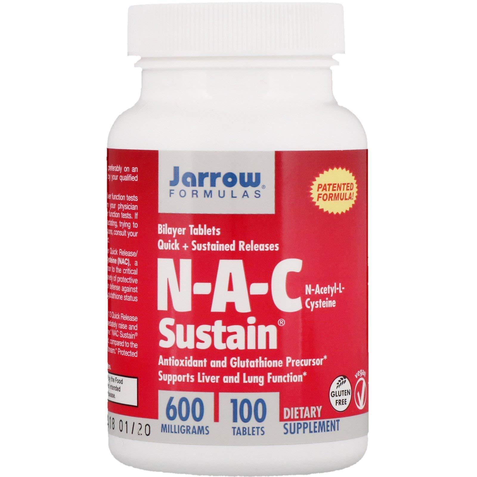 Jarrow NAC Sustain (600mg, 100 Bilayer Tablets)