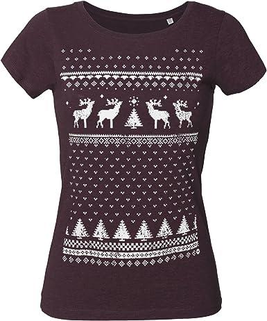 Jolly - Camiseta para Mujer de algodón orgánico con diseño de Reno de Navidad, Alternativa Ligera a la Navidad: Amazon.es: Ropa y accesorios