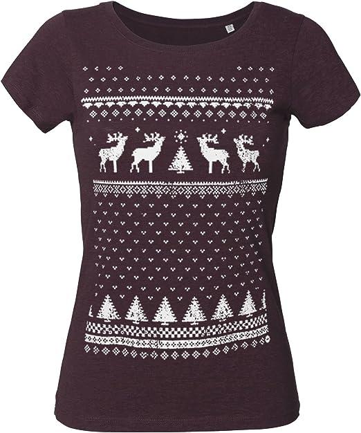 Jolly - Camiseta para Mujer de algodón orgánico con diseño de Reno ...