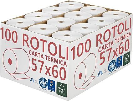 Confezione 100 Rotoli Termici mm 57x60 mt Omologati per Registratore di Cassa Carta Termica 1^ Qualit/à