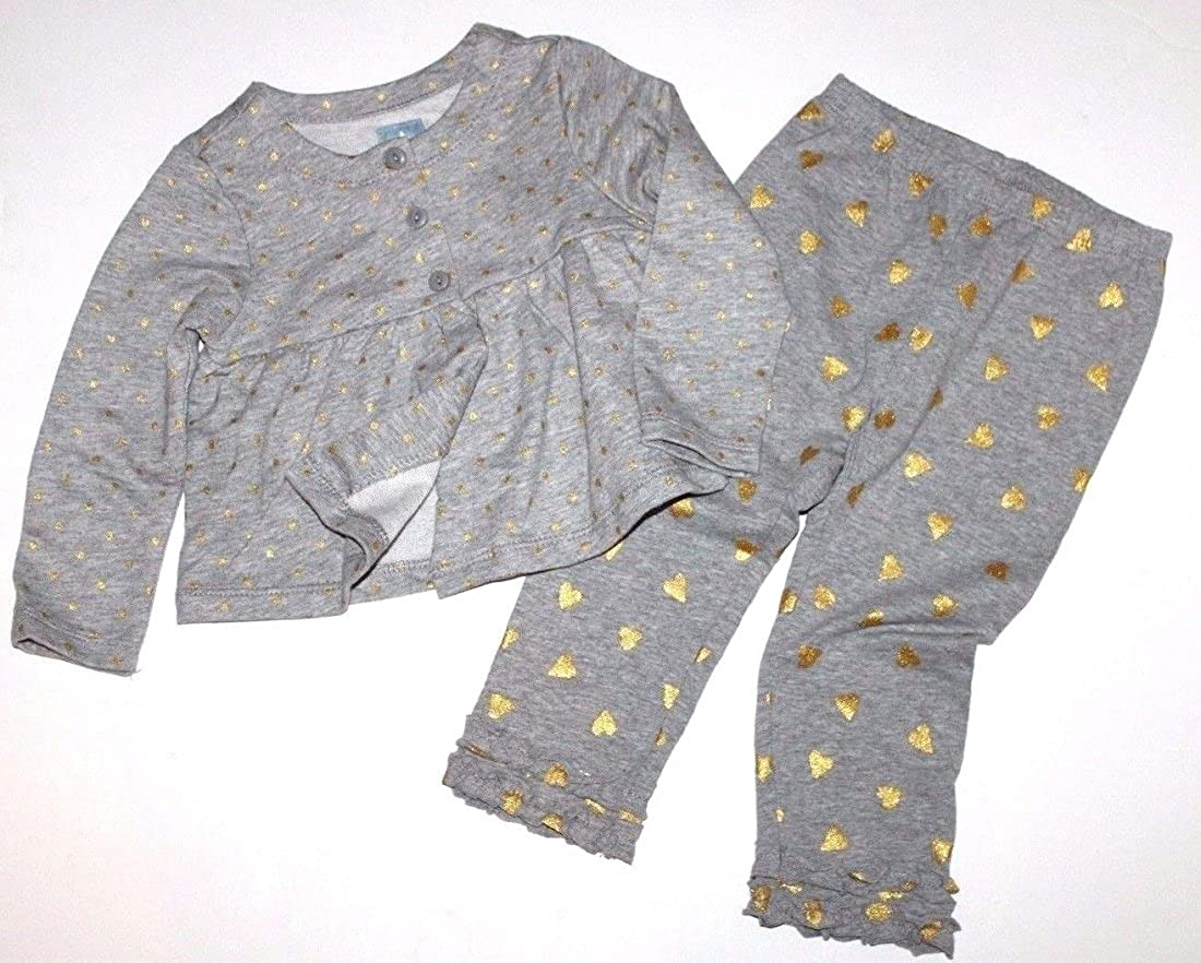 22f6df990 Amazon.com: Baby Gap Baby Toddler Girls Gray and Metallic Heart Print  Outfit: Clothing