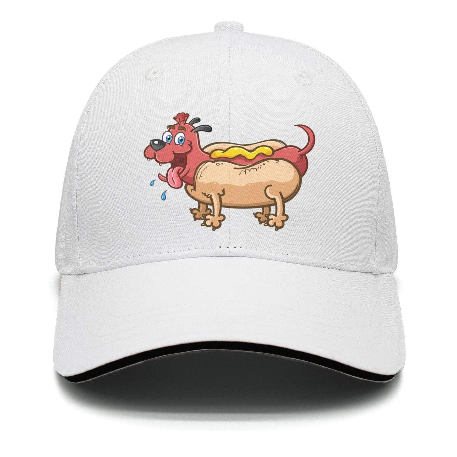 Unisex Happy Dachshund with a Hot Dog Baseball HatsBrim Adjustable Mesh Hats Caps