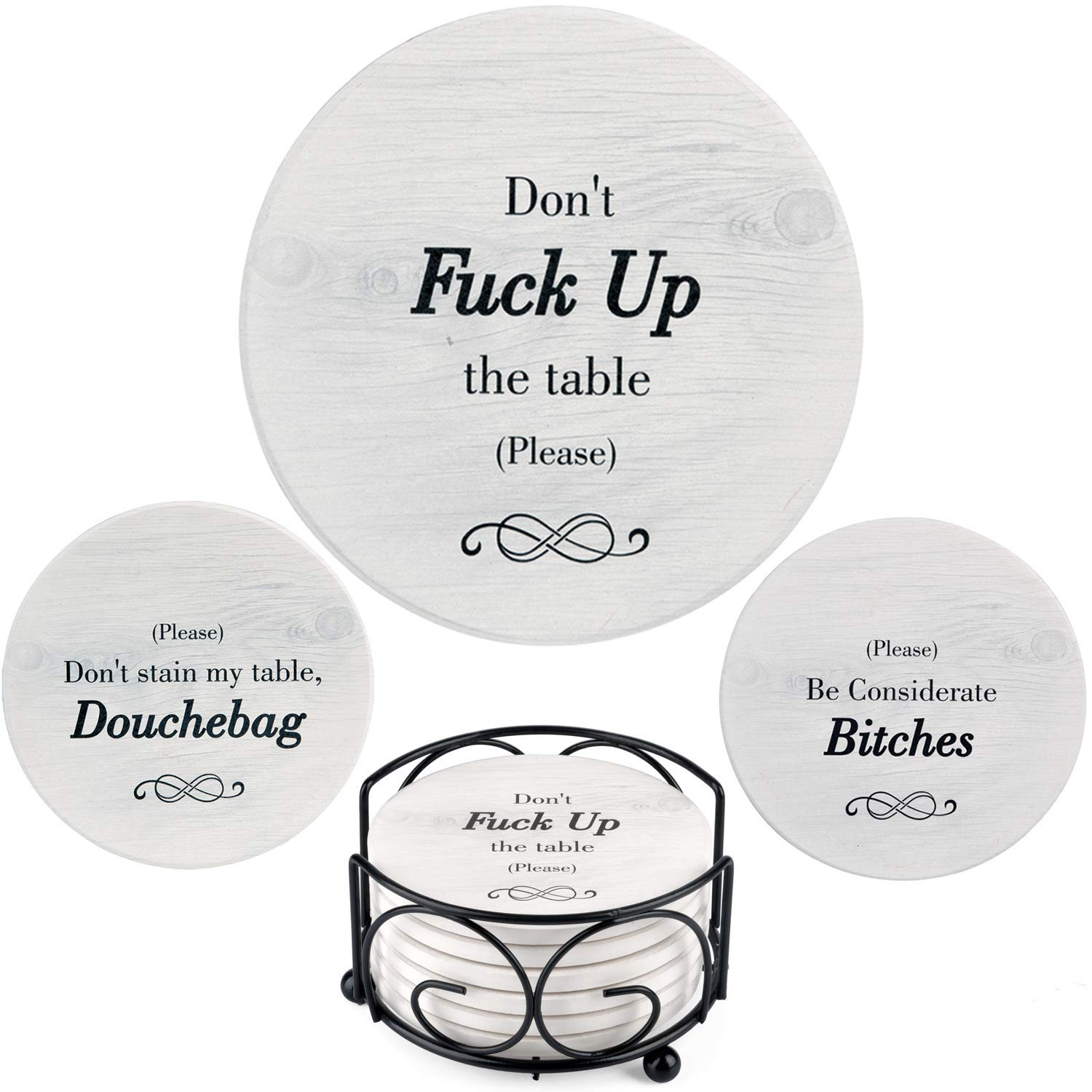 Funny Coasters for Drinks Absorbent with Holder | 6 Pcs Novelty Gift Set | 3 Different Sayings | Unique Present for Friends, Men, Women, Housewarming, Birthday, White Elephant, or Holiday Party