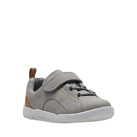 bb03aa0383d3 Clarks Kids Girls  Grey Leather  Tri Leap  Shoes 4F Younger  Clarks ...