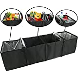 lebogner Auto Trunk Organizer With Insulated Cooler Compartments By X-Large Vacation Trunk Cooler Box For Hot Or Cold Food While Traveling, Multipurpose Collapsible Car Accessories Storage Organizer