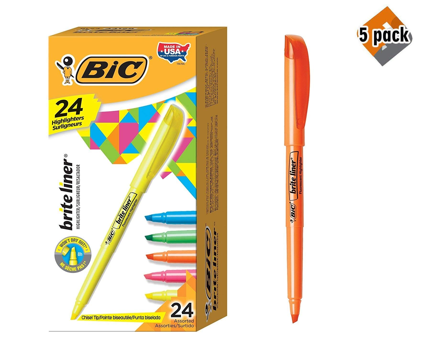 BIC Brite Liner Highlighter, Chisel Tip, Assorted Colors, 24-Count 5 Pack