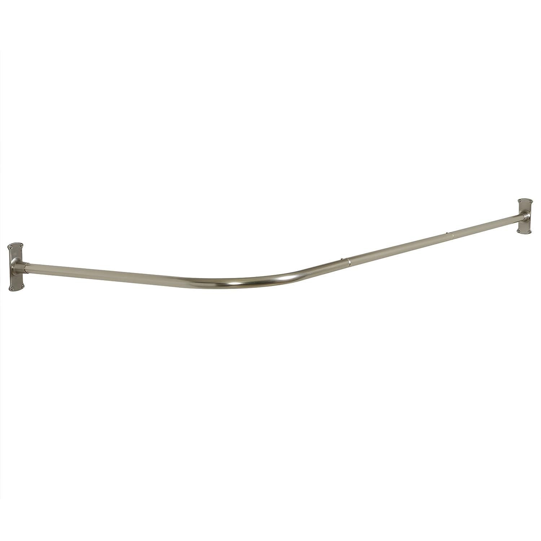 "Zenna Home 33941BN, NeverRust Aluminum ""L"" Shaped Corner Shower Curtain Rod, Satin Nickel on sale"