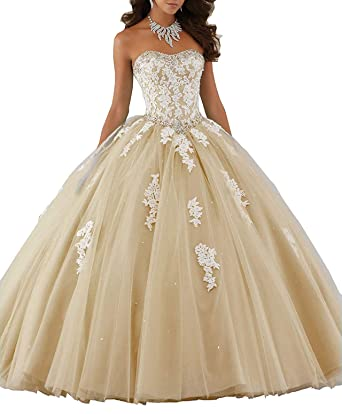 31abee70953c Meledy Women's Cute Crystal Quinceanera Dresses Lace Ball Gown Girl's  Birthday Party Prom Gown Dark Champagne