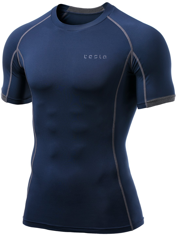 TSLA pour des Hommes Manches Courtes T-Shirt Cool Couche Compression Sec