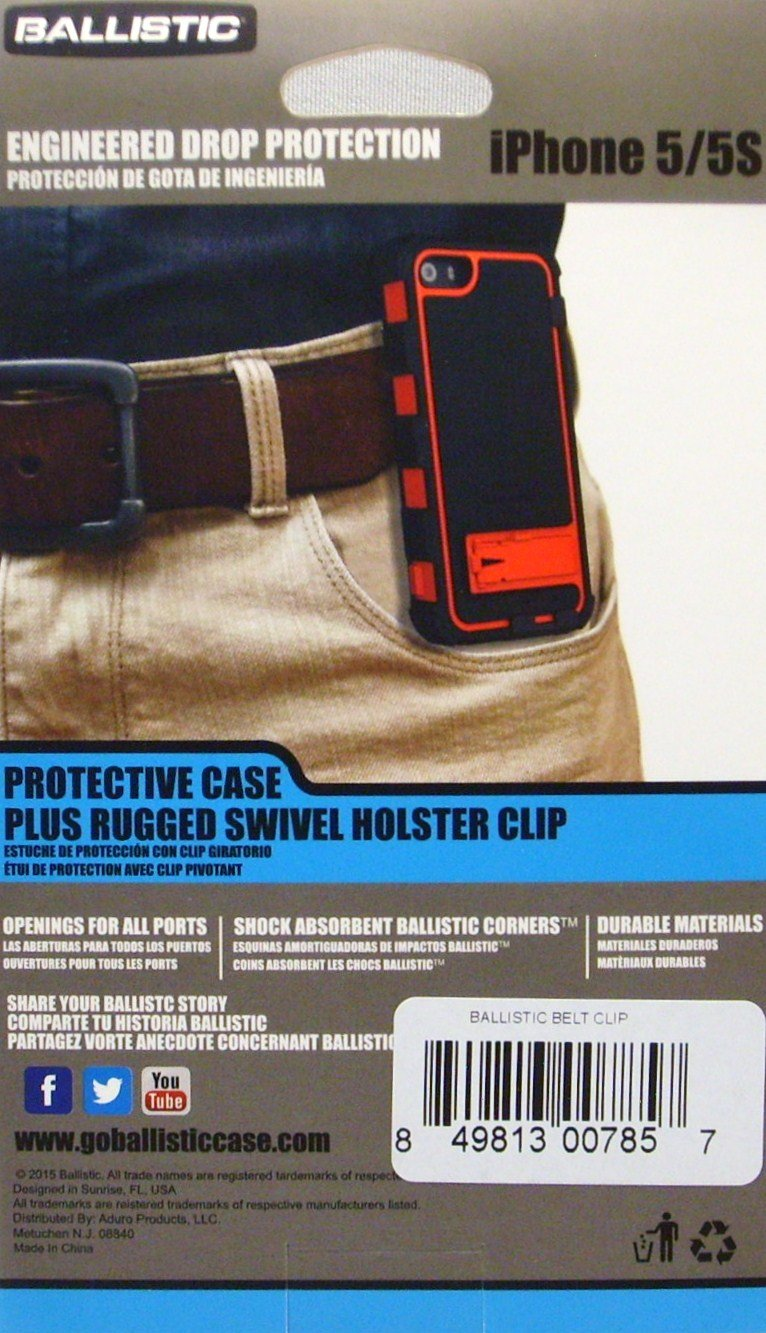 Ballistic Protective Case Plus Rugged Swivel Holster Clip (Aqua/Blue/Black)