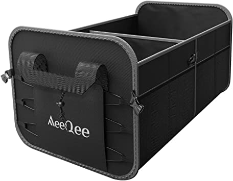 with 6 Multi Mesh Pockets and 3 Compartments Non-Slip Bottom,Durable Carbon Fiber,for Auto SUV Truck Minivan, Black Collapsible Waterproof Cargo Storage Containers Mieziba Car Trunk Organizer