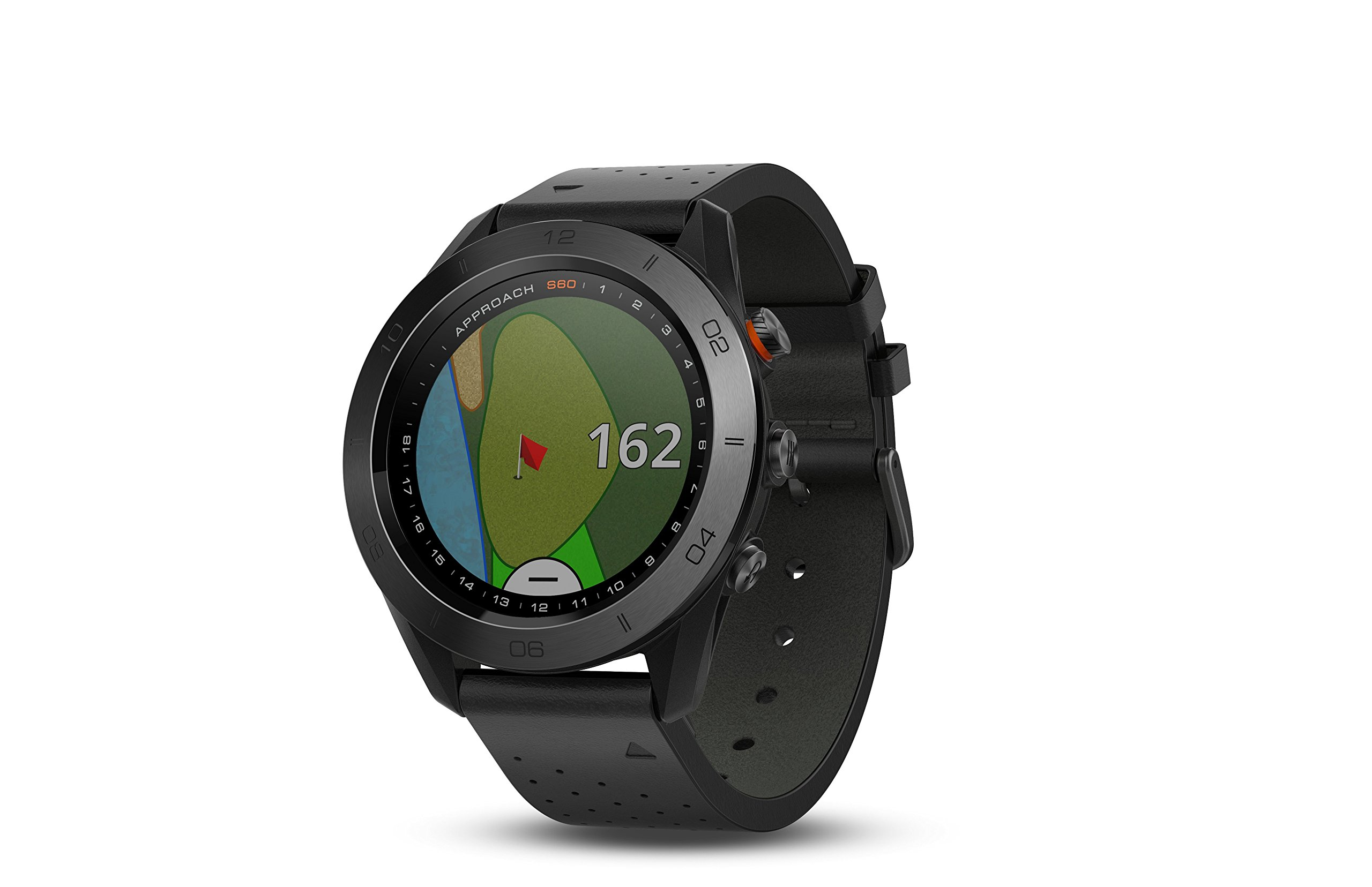 Garmin Approach S60, Premium GPS Golf Watch with Touchscreen Display and Full Color CourseView Mapping, Black w/Leather Band by Garmin