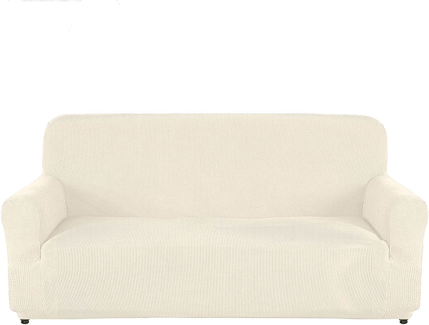AUJOY Couch Cover Stretch 1-Piece Sofa Slipcover for 3 Cushion Couch Jacquard Fabric Furniture Protector with Anti-Slip Foams (Sofa, Natural)