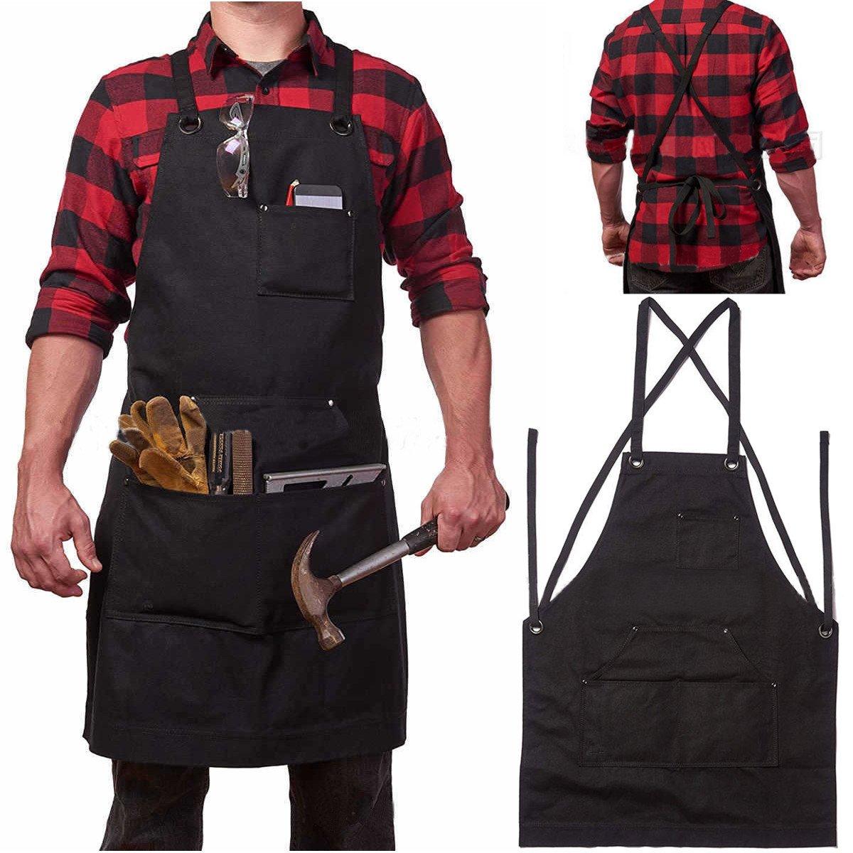 Tool Organizers Heavy Duty Waxed Canvas Work Hobby Apron Large Pocket Fits Small to XXL Black