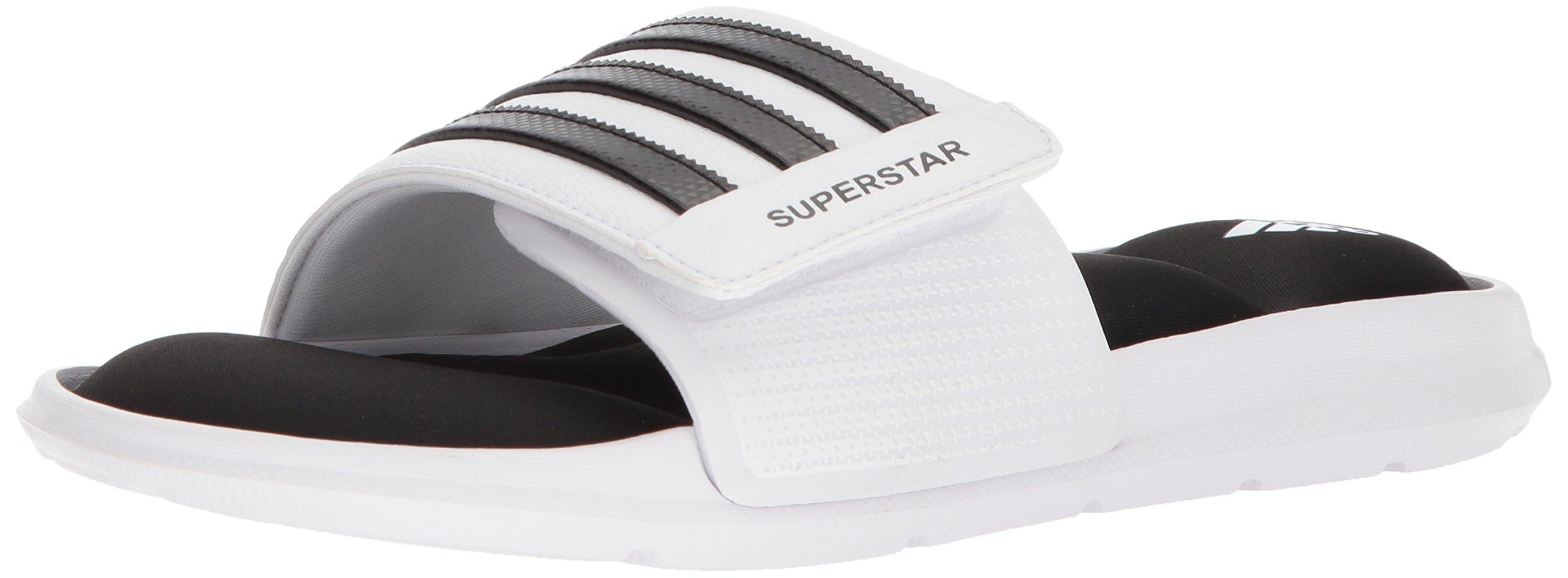 adidas Men's Superstar Slide Sandal, White/Black/White, 12 M US