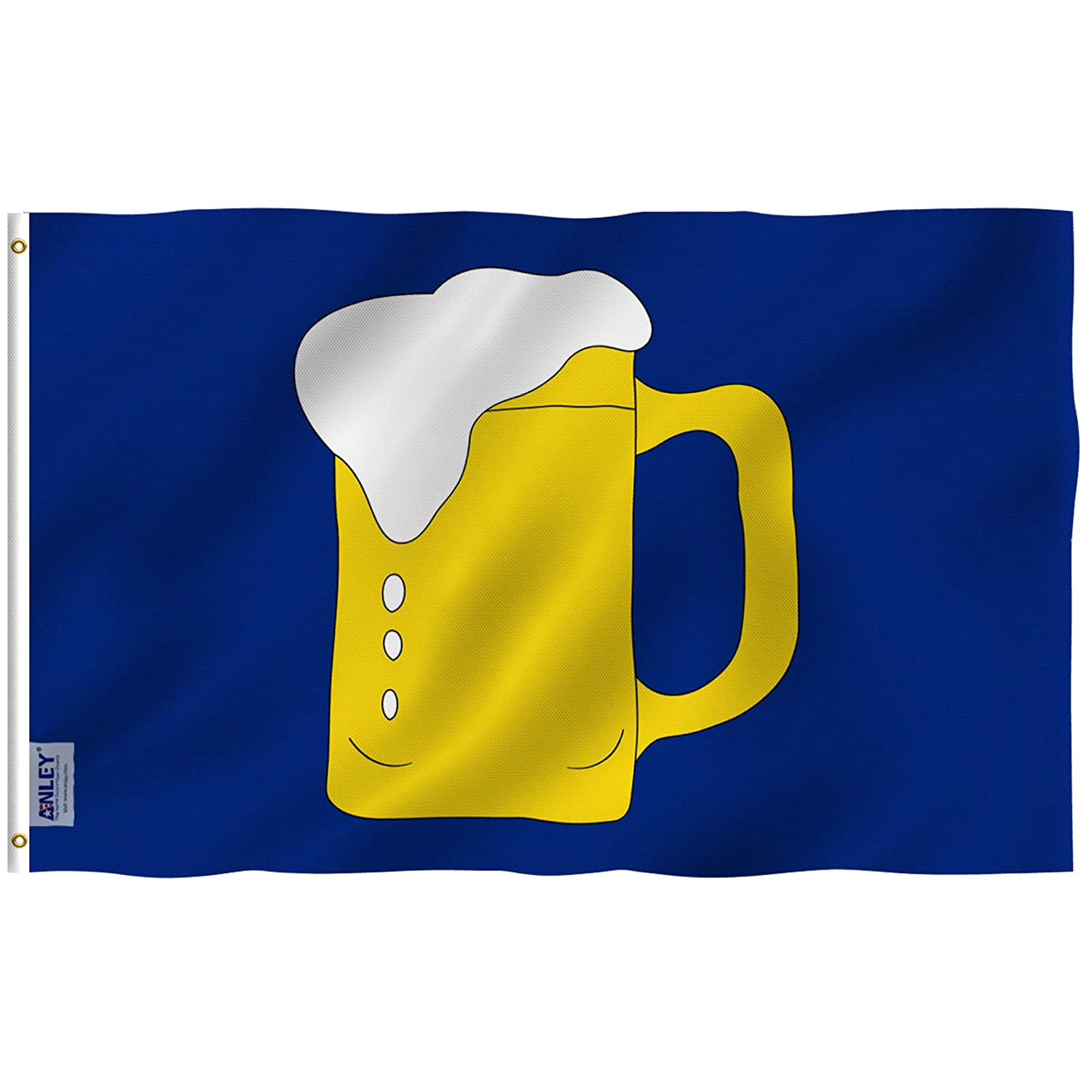 Anley Fly Breeze 3x5 Ft Beer Mug Flag - Vivid Color and UV Fade Resistant - Double Stitched - Beer Mug BM Advertising or Service Businesses Flags Polyester with Brass Grommets 3 X 5 Ft