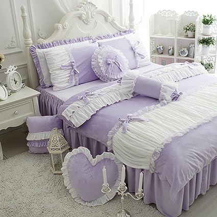 Amazon Com Kepswet 4pc Noble Purple Bedding Sets European Pastoral